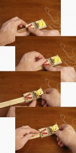 Photo sequence showing how to set a mouse trap booby trap